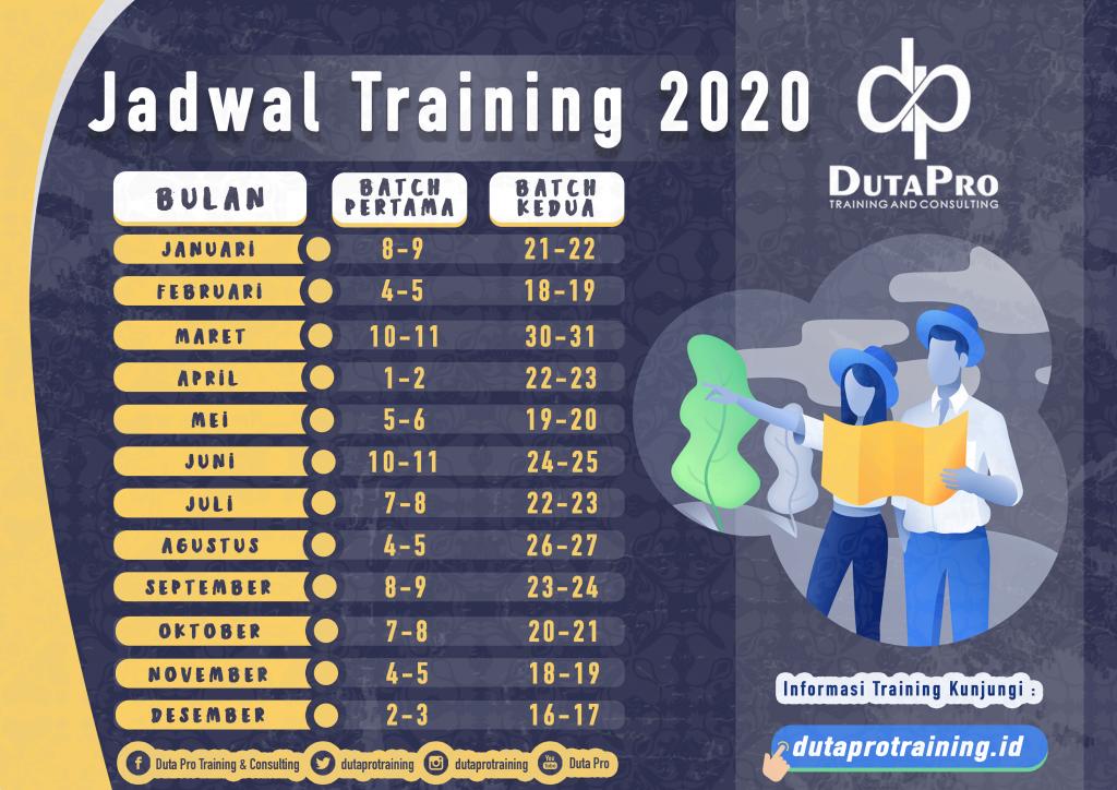 Jadwal Informasi Training 2020 Duta Pro