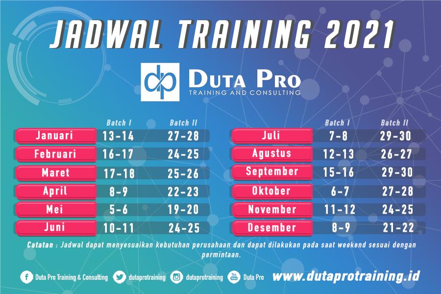 Jadwal Pusat Training 2021 Duta Pro Consulting di Jogja Jakarta Bandung Surabaya Bali Kalimantan Terbaru